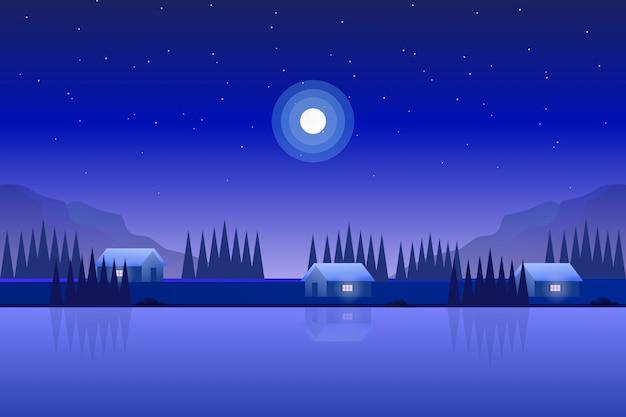 Illustrazione del paesaggio della natura della casa con la foresta di legno di pino con cielo notturno stellato