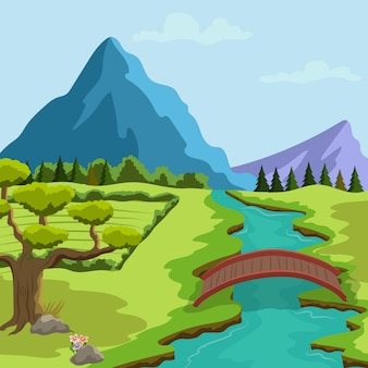 Illustrazione del paesaggio della primavera con un fiume e montagne e vegetazione