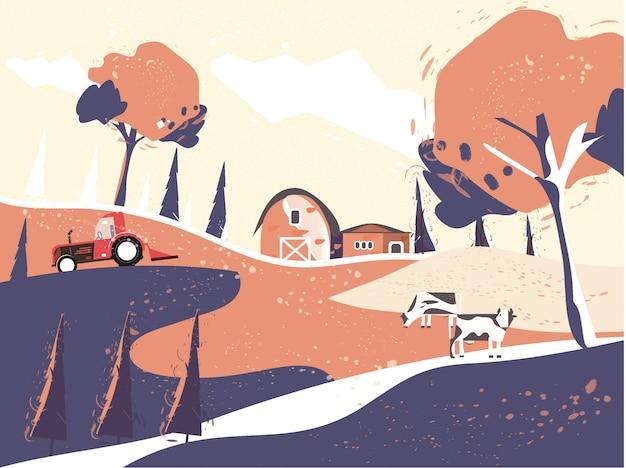 Illustrazione del paesaggio di campagna in autunno, casa colonica.