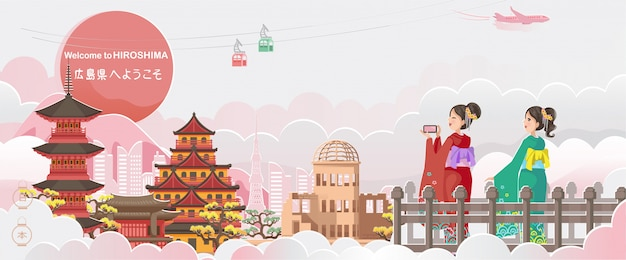 Illustrazione del paesaggio di hiroshima