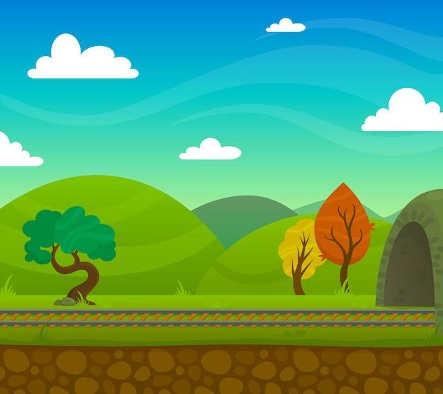 Illustrazione del paesaggio ferroviario
