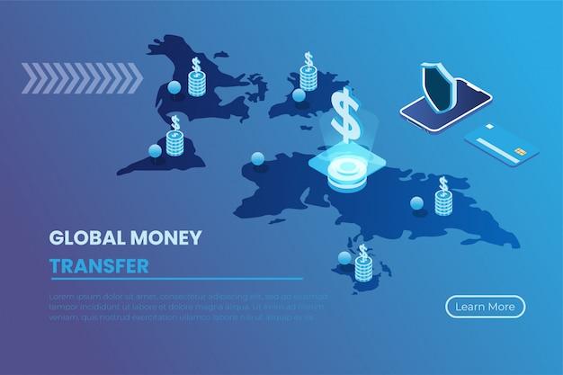 Illustrazione del pagamento attraverso i sistemi online, pagamenti tramite tecnologia virtuale a livello globale nello stile isometrico dell'illustrazione 3d
