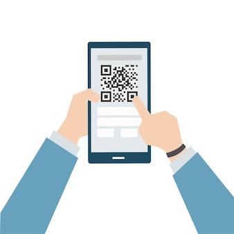 Illustrazione del pagamento online con codice a barre a matrice