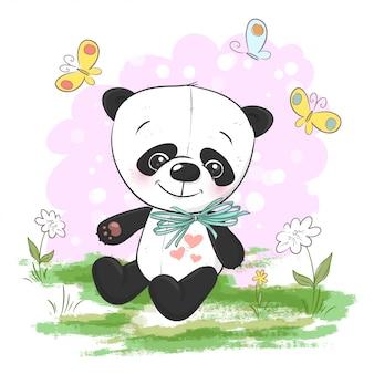 Illustrazione del panda simpatico cartone animato con fiori e farfalle