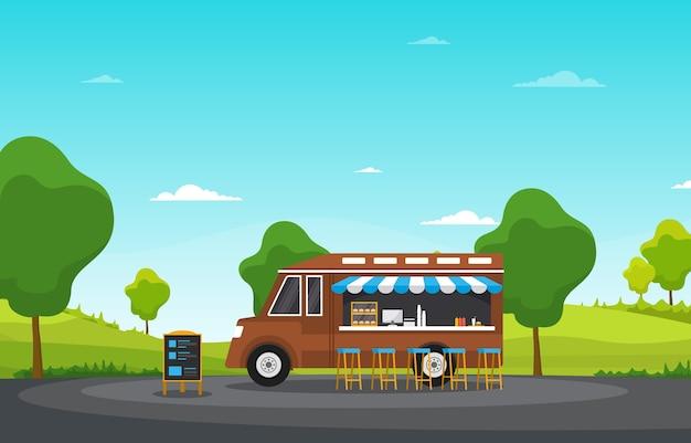 Illustrazione del parco del negozio di strada del veicolo del furgone del camion di cibo
