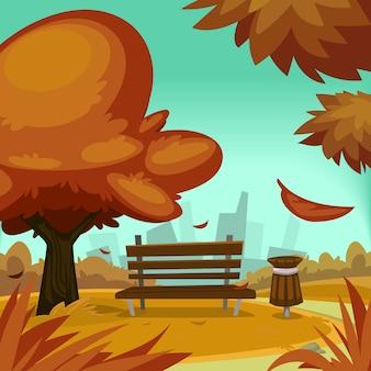 Illustrazione del parco di autunno del fumetto con panca e albero