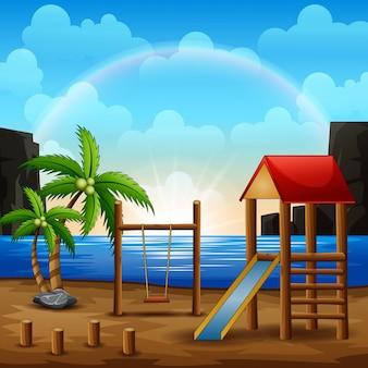 Illustrazione del parco giochi sulla spiaggia