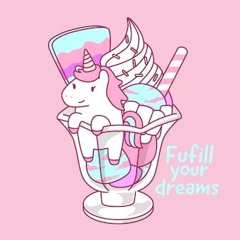 Illustrazione del parfait del gelato dell'unicorno nel tono di colore pastello
