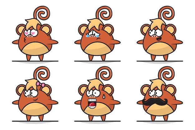 Illustrazione del personaggio adorabile della scimmia del bambino con l'espressione differente.
