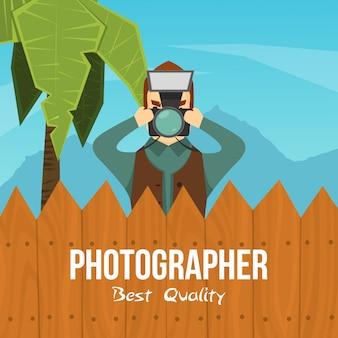 Illustrazione del personaggio dei cartoni animati del fotografo