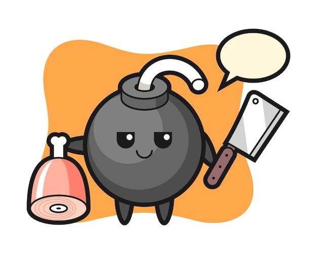 Illustrazione del personaggio di bomba come un macellaio