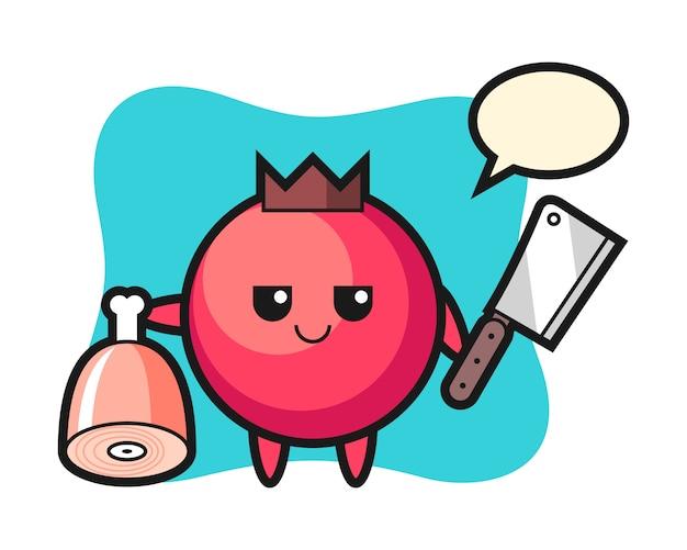 Illustrazione del personaggio di mirtillo rosso come un macellaio, stile carino, adesivo, elemento del logo