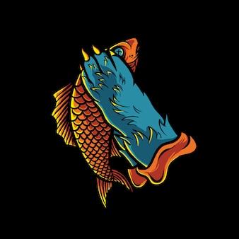 Illustrazione del pesce della tenuta della mano del gatto