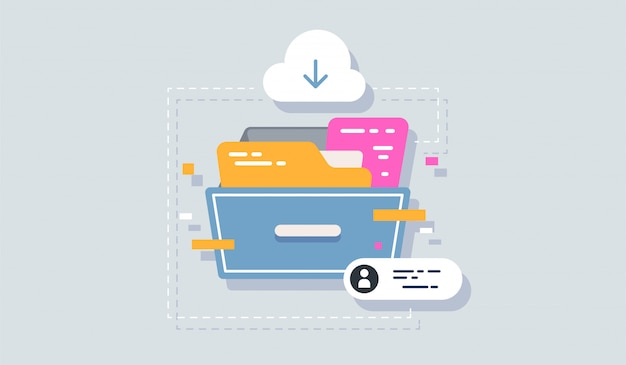 Illustrazione del piano dell'icona dell'archivio isolato su pulito per il vostro disegno di marchio di app mobile di web.