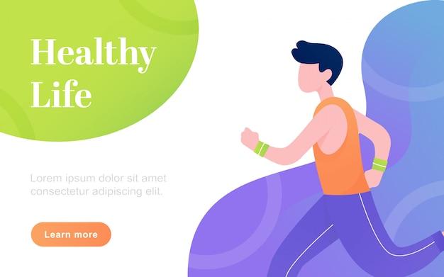 Illustrazione del piano di pagina di vita in buona salute piana moderna di atterraggio