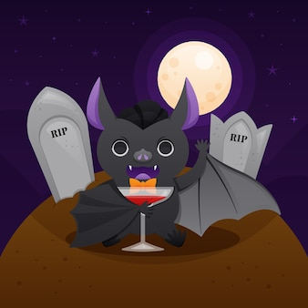 Illustrazione del pipistrello di halloween con le tombe