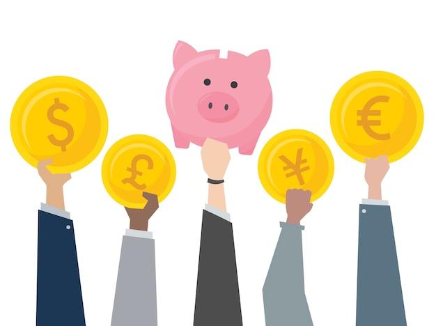 Illustrazione del porcellino salvadanaio e cambio valuta