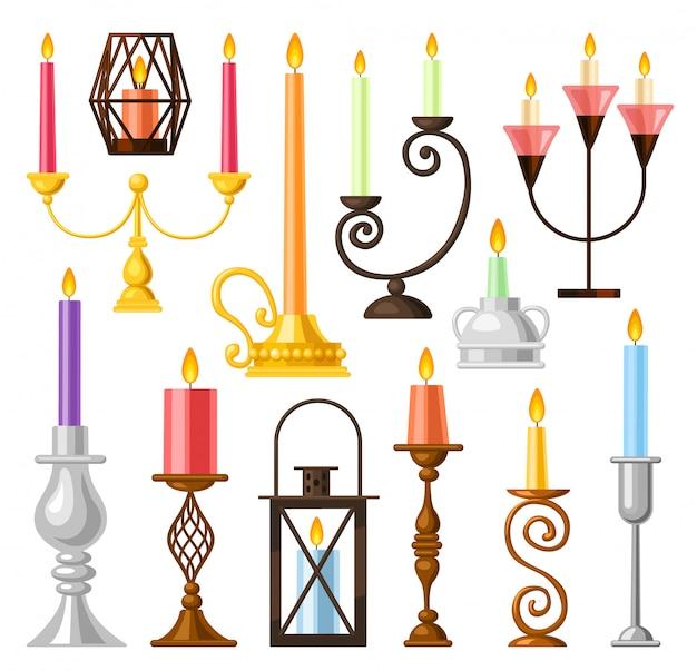 Illustrazione del portacandele su fondo bianco. candeliere dell'icona stabilita del fumetto. supporto di candela stabilito dell'icona del fumetto isolato.