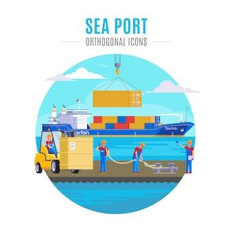 Illustrazione del porto di mare