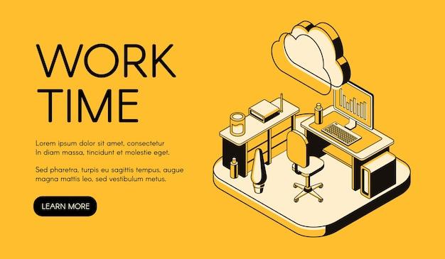 Illustrazione del posto di lavoro dell'ufficio della linea arte sottile nera su fondo di semitono giallo.