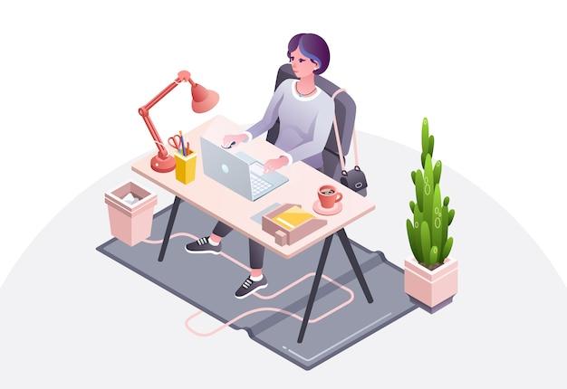 Illustrazione del posto di lavoro della donna della donna di affari, della segretaria o del responsabile che lavora nell'ufficio