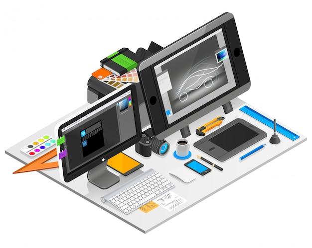 Illustrazione del posto di lavoro di progettazione grafica