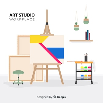 Illustrazione del posto di lavoro di studio arte piatta