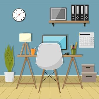 Illustrazione del posto di lavoro moderno in camera. area di lavoro dell'ufficio creativo
