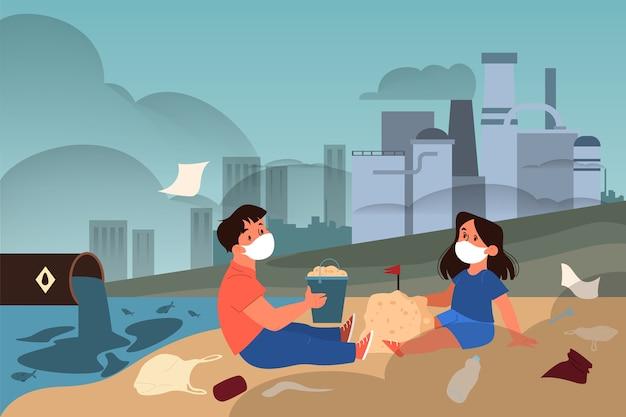Illustrazione del problema di ecologia globale. inquinamento ambientale, disastro ecologico, terra in pericolo. inquinamento industriale dell'aria e dell'acqua. illustrazione
