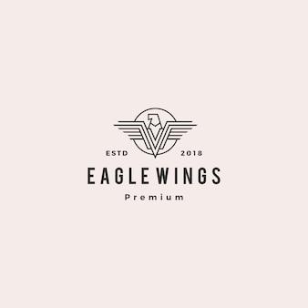 Illustrazione del profilo dell'icona di vettore di logo dell'aquila del falco