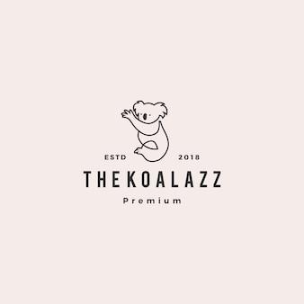 Illustrazione del profilo della linea dell'icona di vettore di logo di koala