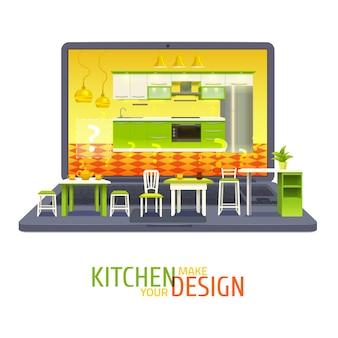 Illustrazione del progetto di design della cucina