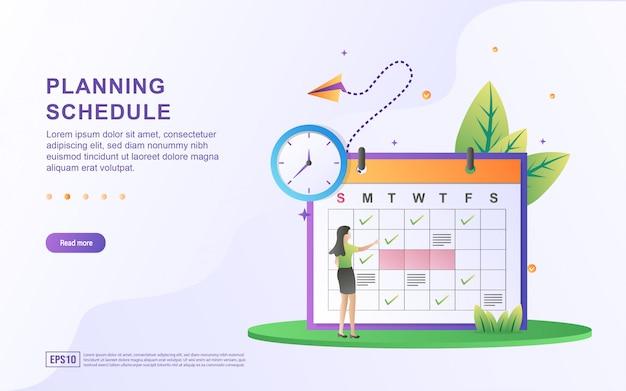 Illustrazione del programma di pianificazione con orologio e persone che pianificano un programma.