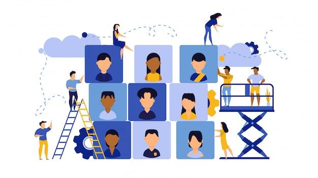 Illustrazione del pubblico dell'agenzia di successo di affari di carriera di lavoro.