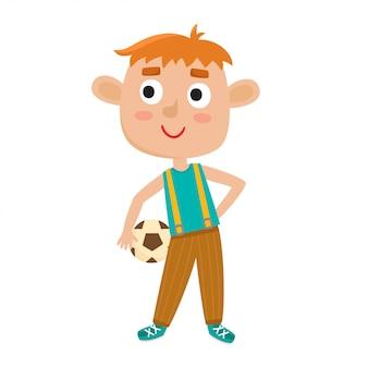 Illustrazione del ragazzino in camicia e jeans, giocare a calcio.