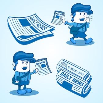 Illustrazione del ragazzo di notizie