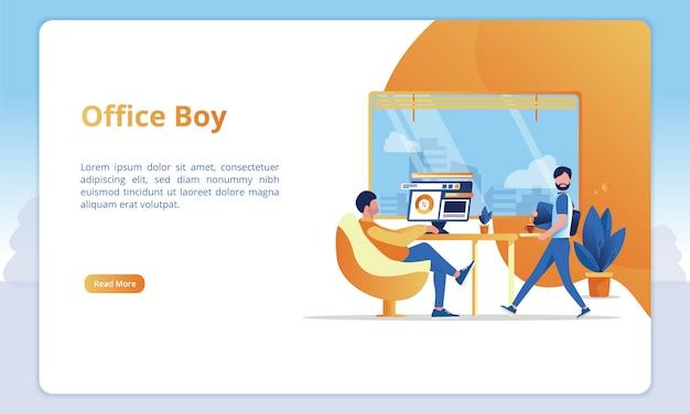 Illustrazione del ragazzo di ufficio nell'ufficio di un lavoratore per i modelli di una pagina di atterraggio di affari