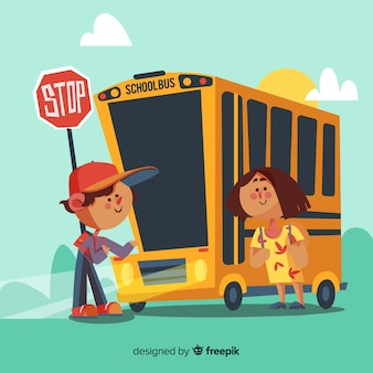 Illustrazione del ragazzo e della ragazza che prendono l'autobus di nuovo a scuola