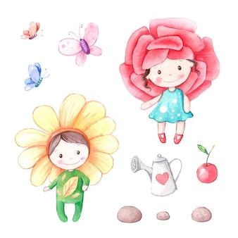 Illustrazione del ragazzo e della ragazza di fiore del fiore