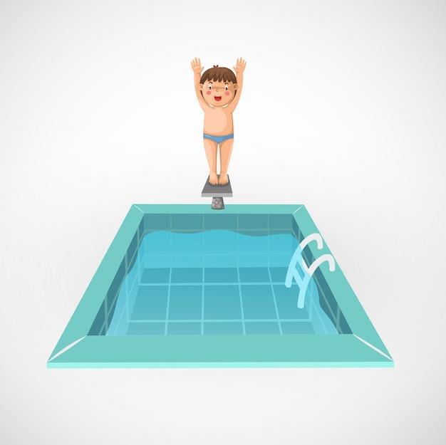 Illustrazione del ragazzo isolato e una piscina
