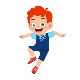 Illustrazione del ragazzo sveglio felice pronto ad andare a scuola