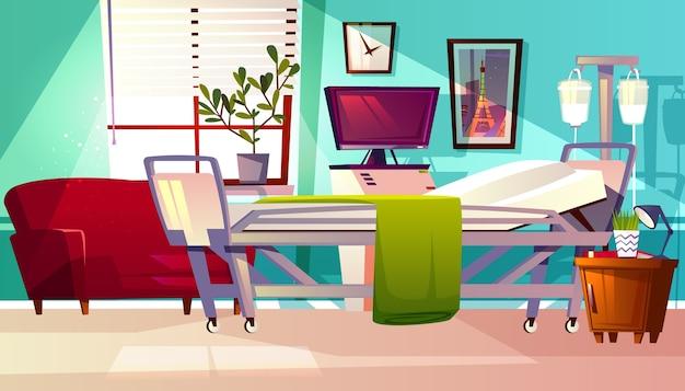 Illustrazione del reparto di ospedale della stanza paziente della clinica. fondo interno vuoto medico del fumetto