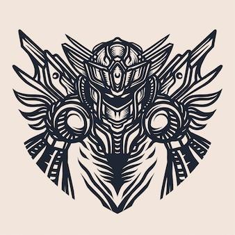 Illustrazione del robot per il disegno della maglietta