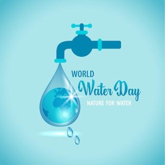 Illustrazione del rubinetto dell'acqua con il globo terrestre all'interno di una goccia d'acqua