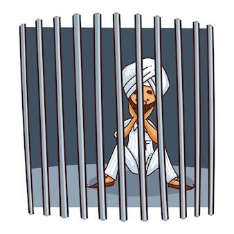 Illustrazione del sardar punjabi dietro le sbarre.