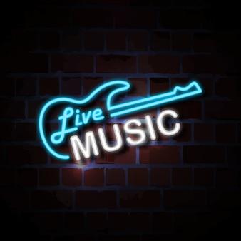 Illustrazione del segno di stile al neon di musica in diretta