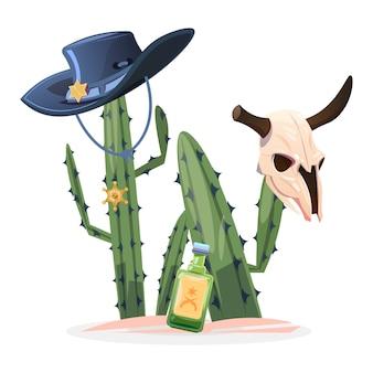 Illustrazione del selvaggio west. cranio di toro di cactus