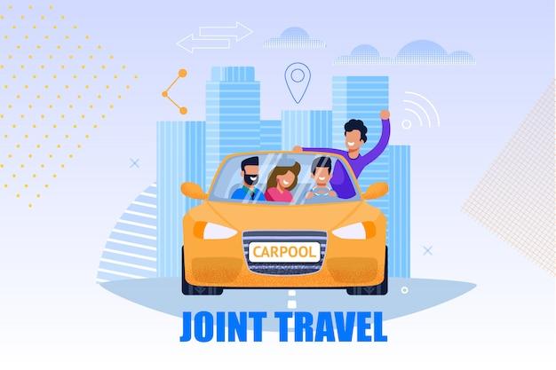 Illustrazione del servizio di viaggio congiunto. carpool concept