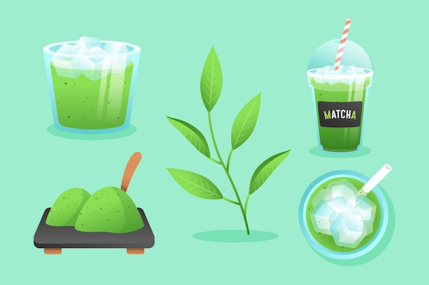 Illustrazione del set da tè matcha
