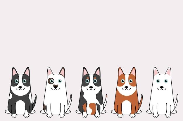 Illustrazione del set di cani divertenti del fumetto. collezione di cani bull terrier.